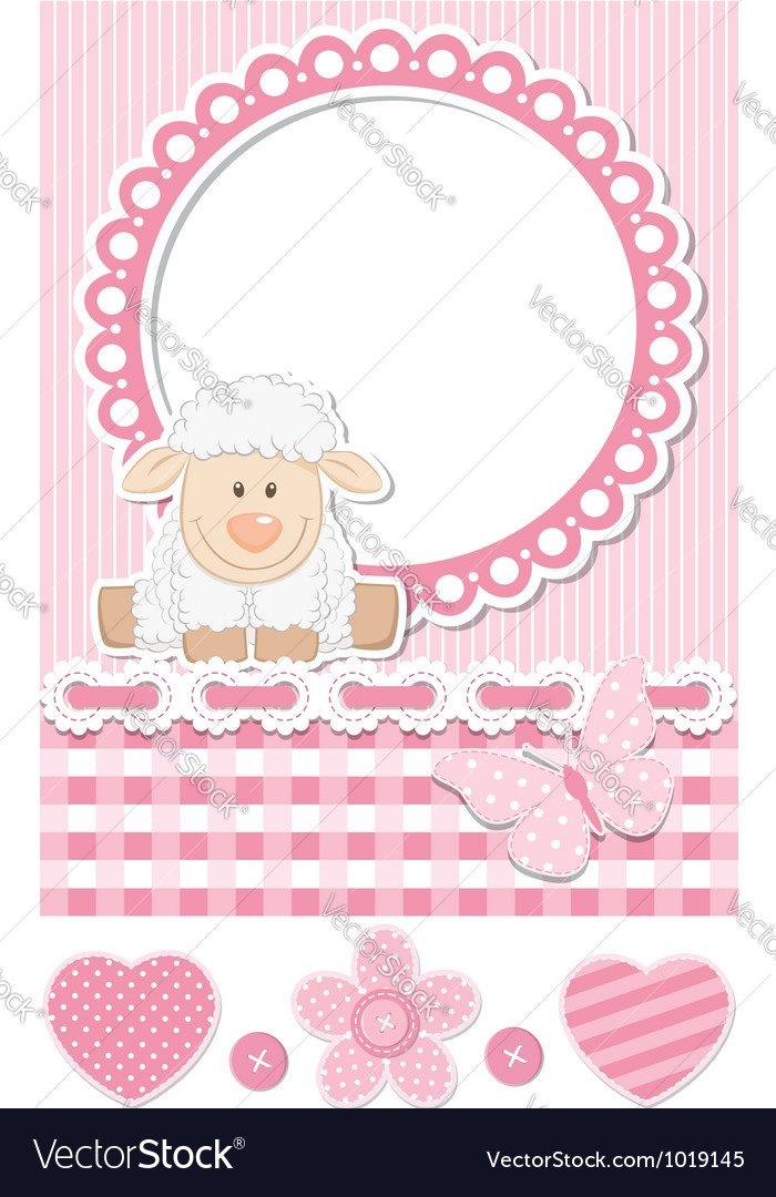Happy baby sheep pink scrapbook set vector | Price:  Credit (USD $)