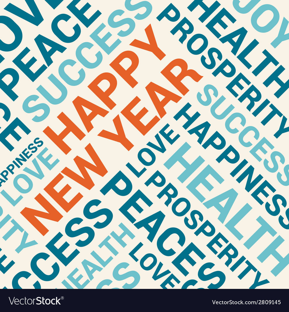 Happy new year card word cloud background vector | Price: 1 Credit (USD $1)