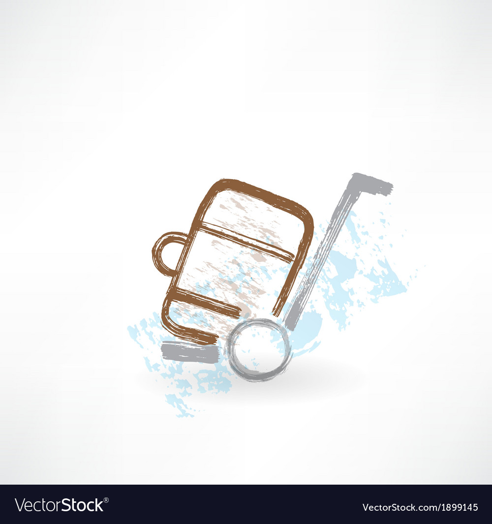 Luggage on wheels grunge icon vector | Price: 1 Credit (USD $1)