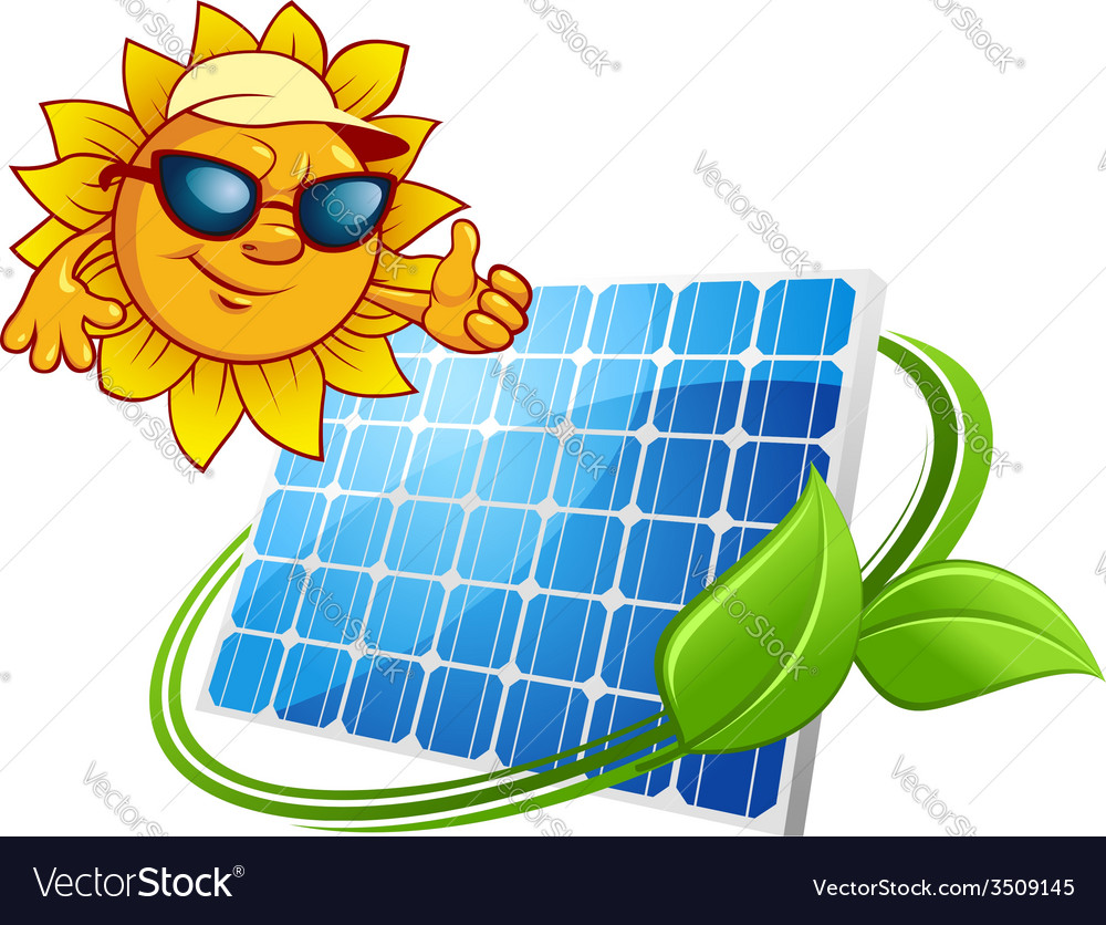Sun energy concept with cartoon sun character vector | Price: 1 Credit (USD $1)