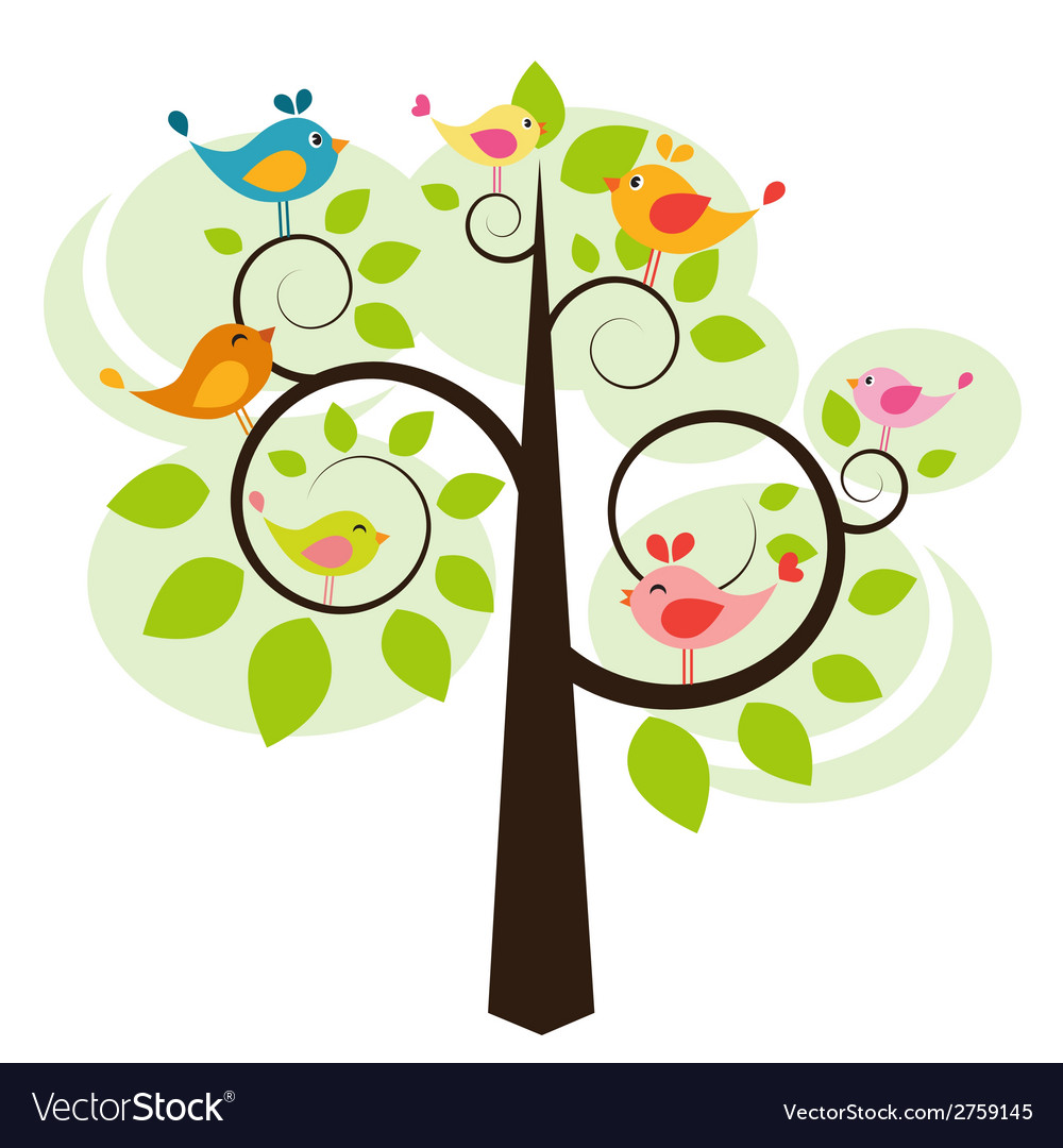 Tree with birds vector | Price: 1 Credit (USD $1)