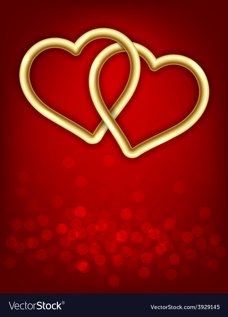 Two golden linked hearts vector | Price: 1 Credit (USD $1)
