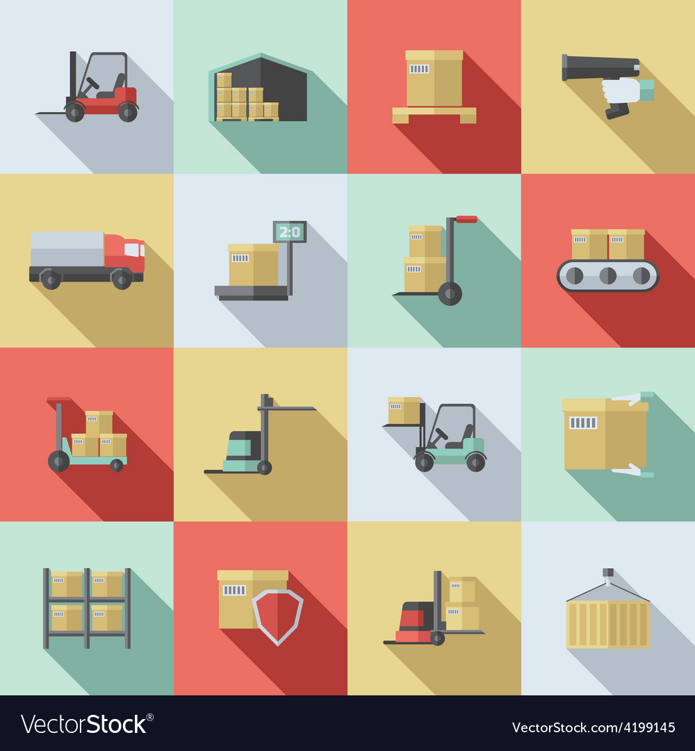 Warehouse flat icons set vector | Price: 1 Credit (USD $1)