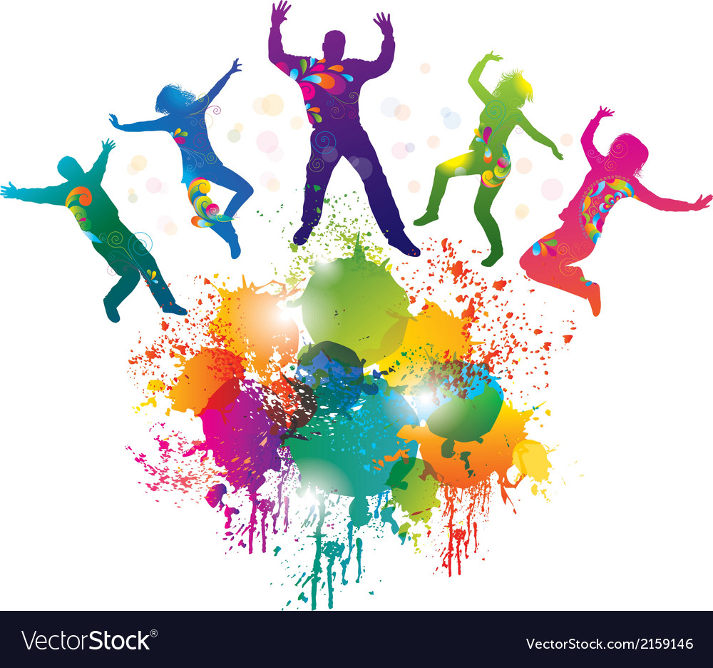 Background with jumping and dancing people vector | Price: 1 Credit (USD $1)