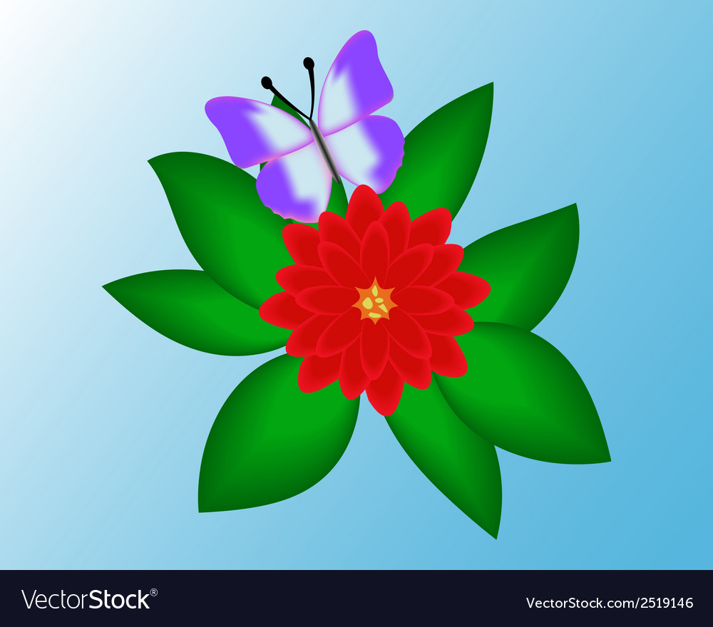 Butterfly on a flower background vector | Price: 1 Credit (USD $1)