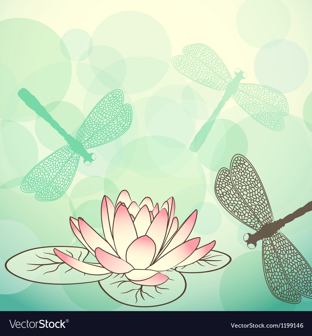 Calm lake background with lotus flower and vector | Price: 1 Credit (USD $1)