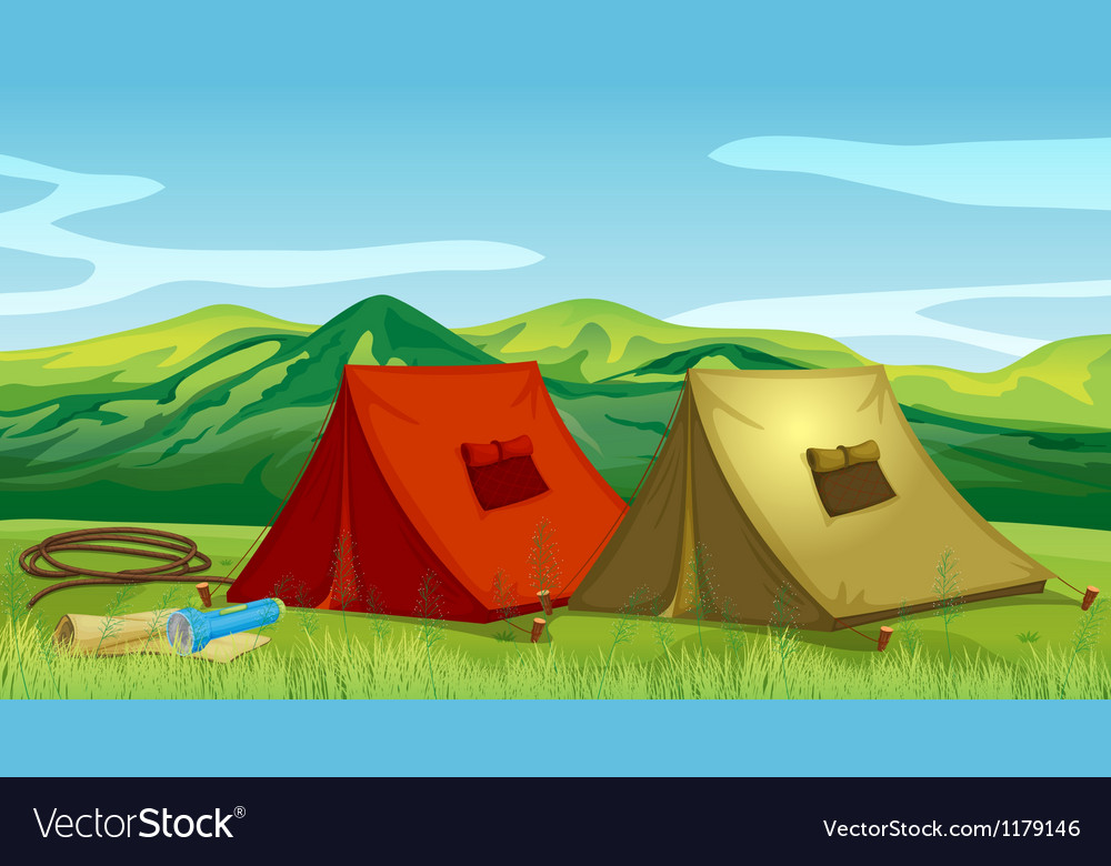 Camping tents near the mountain vector | Price: 1 Credit (USD $1)