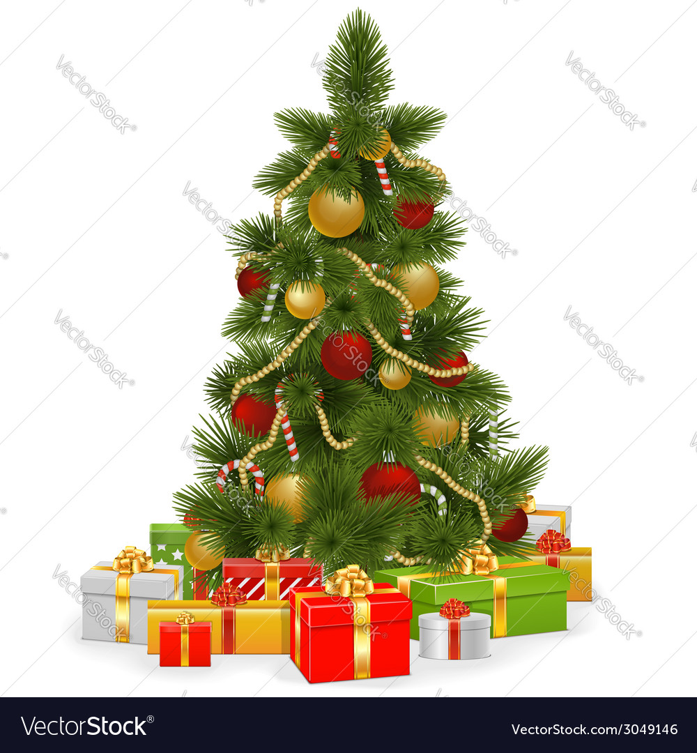 Christmas tree with gifts vector | Price: 3 Credit (USD $3)