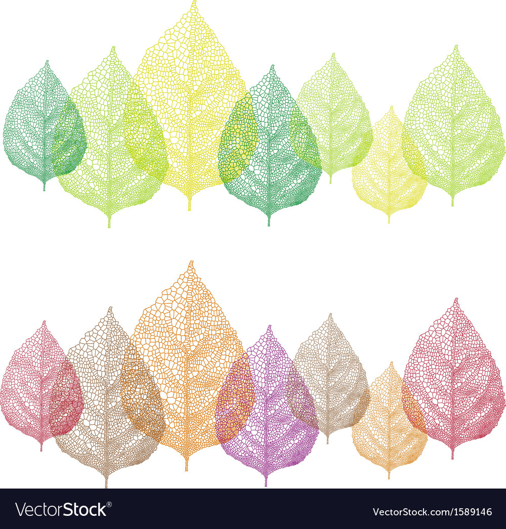 Colorful vein leaves set vector | Price: 1 Credit (USD $1)