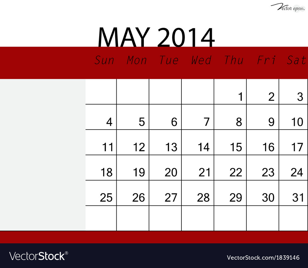 Simple 2014 calendar may vector | Price: 1 Credit (USD $1)