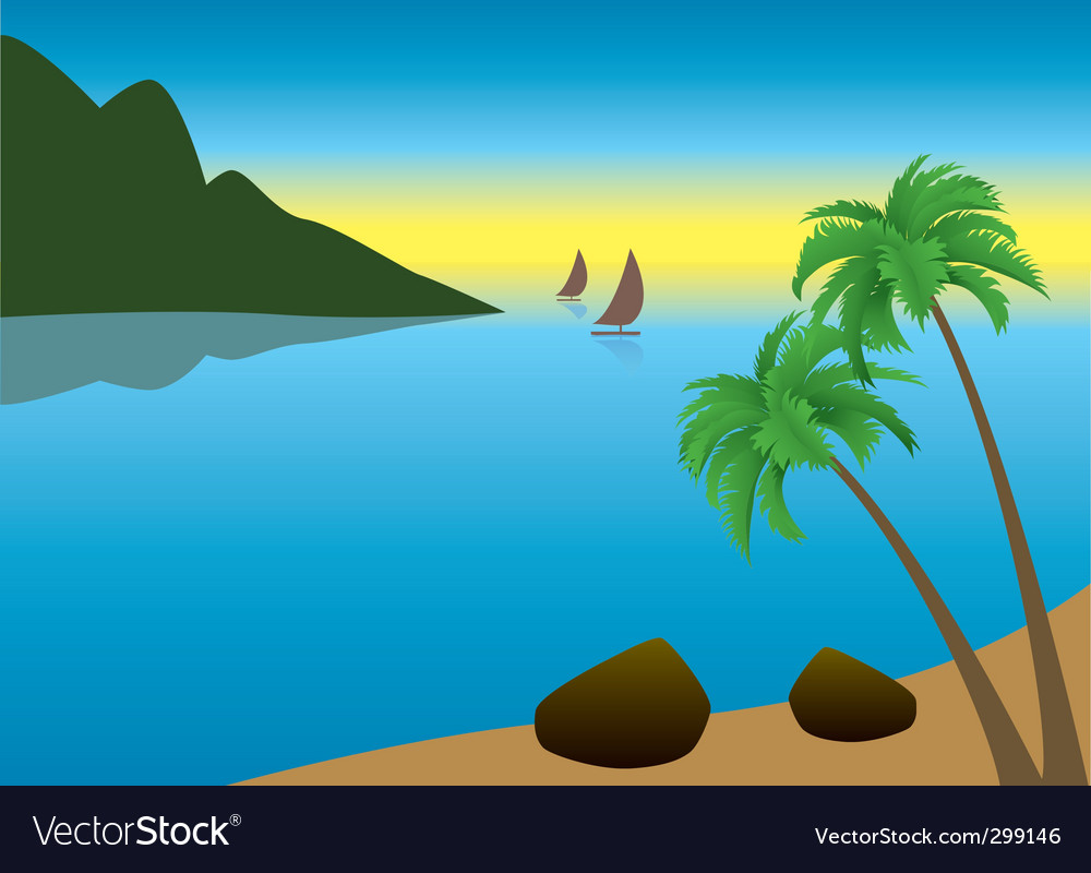 Tropical palm beach vector | Price: 1 Credit (USD $1)