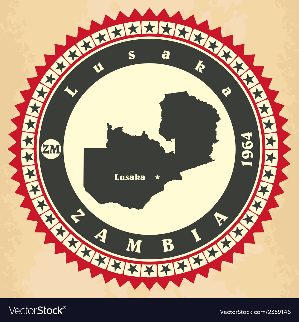 Vintage label-sticker cards of zambia vector | Price: 1 Credit (USD $1)