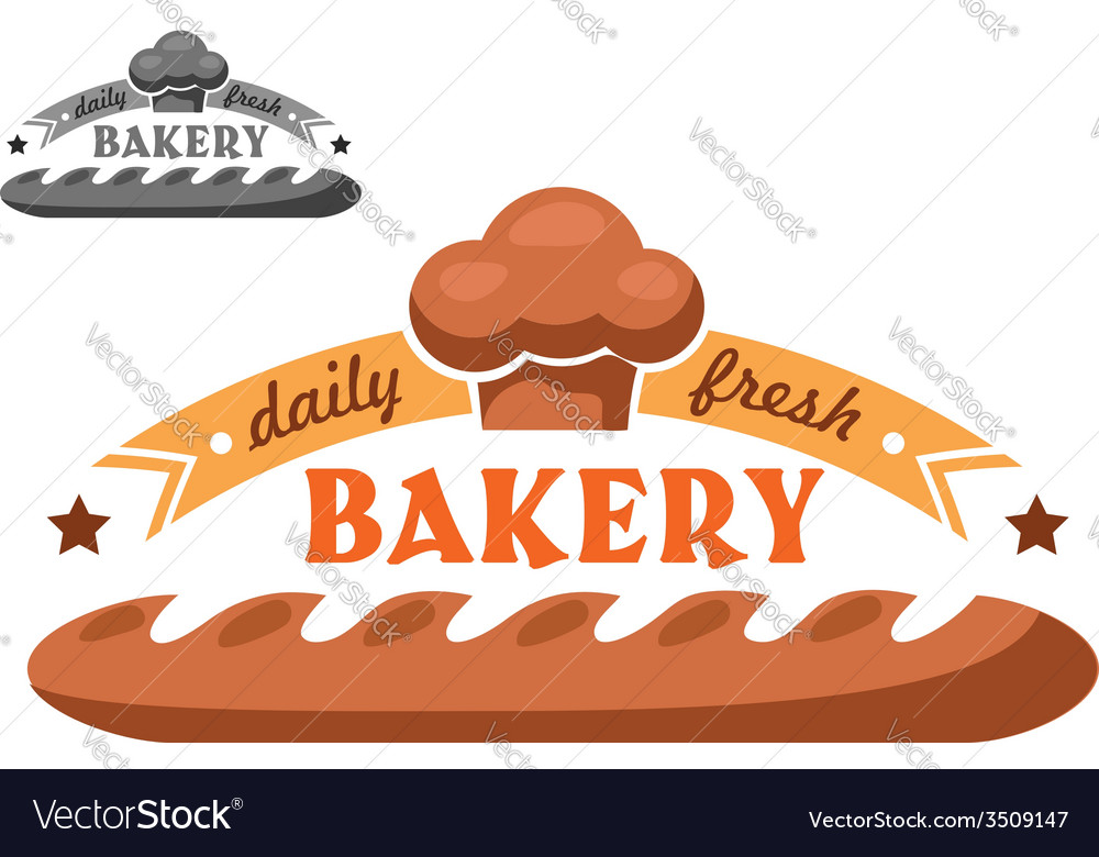 Bakery shop emblem or logo in two color variants vector | Price: 1 Credit (USD $1)