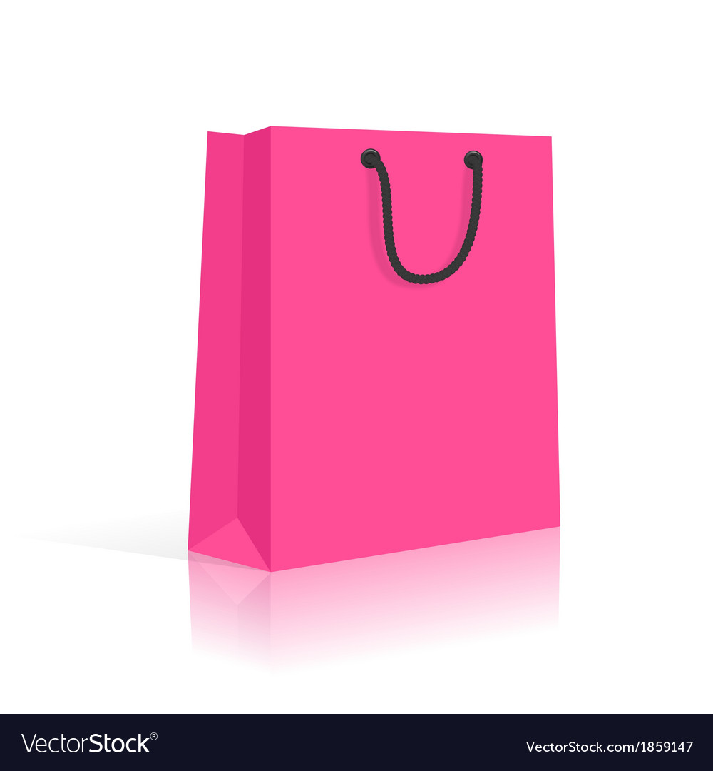 Blank shopping bag with rope handles pink black vector | Price: 1 Credit (USD $1)