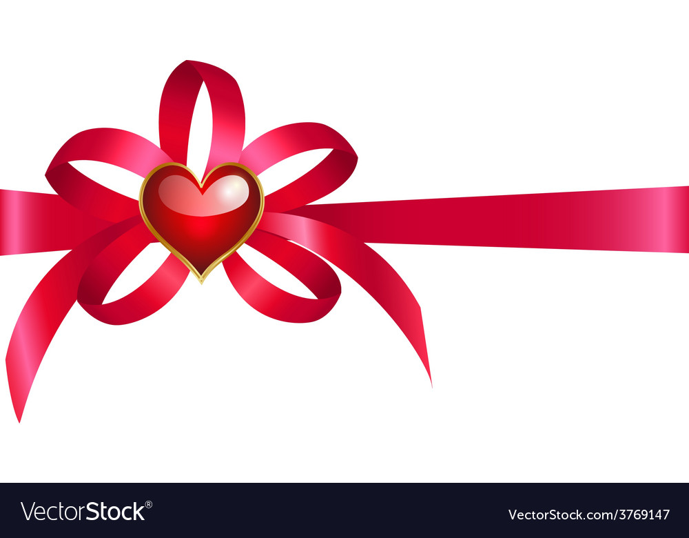 Bow with heart vector | Price: 1 Credit (USD $1)
