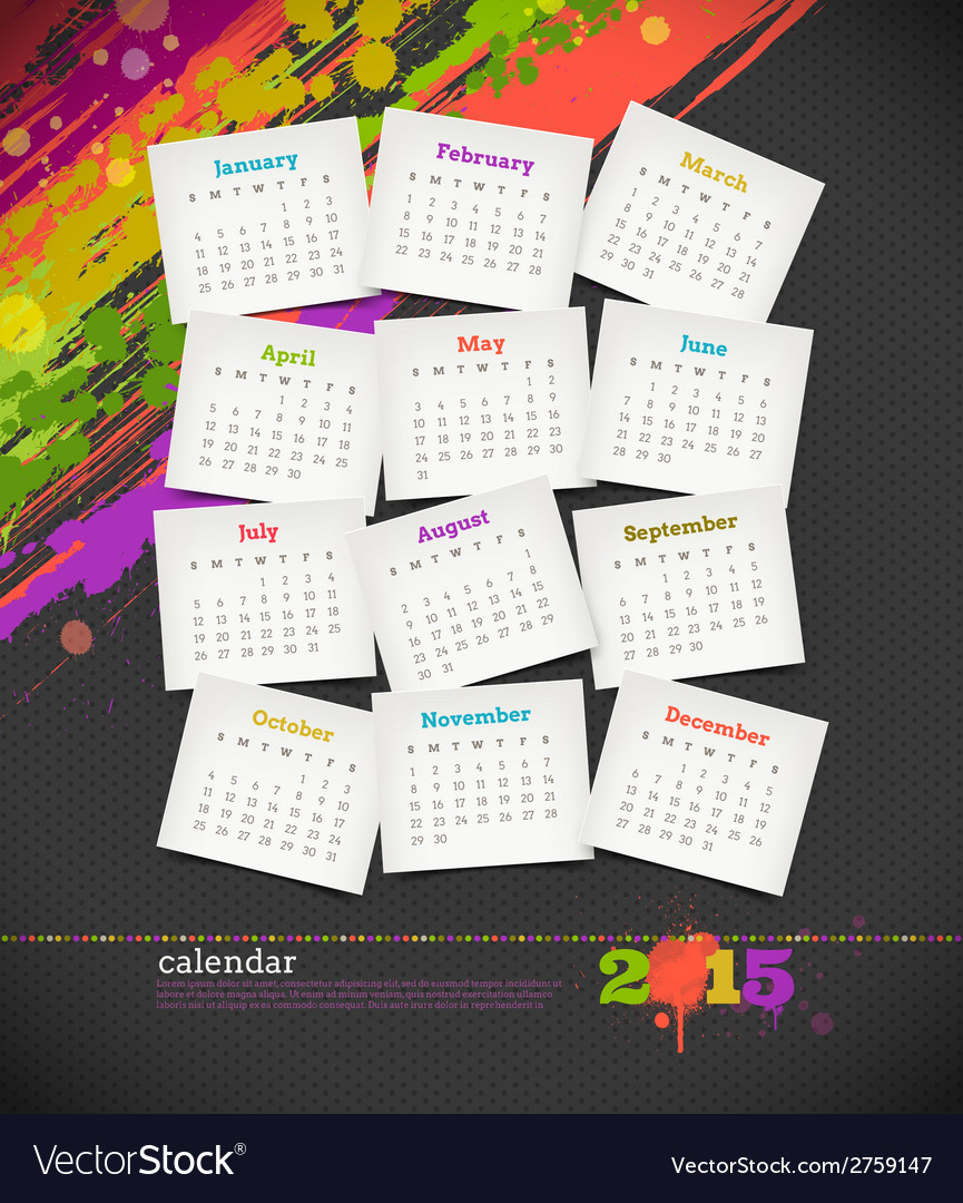 Calendar 2015 with grunge color blots vector | Price: 1 Credit (USD $1)