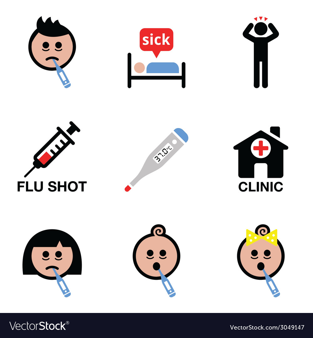 Cold flu sick people icons set vector | Price: 1 Credit (USD $1)