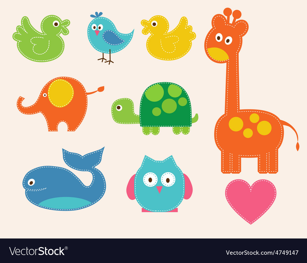 Colorful animals set for kids vector | Price: 1 Credit (USD $1)