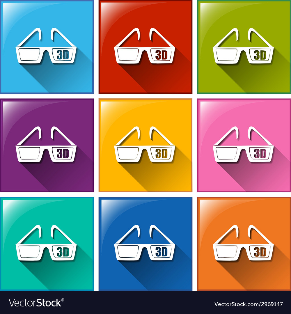 Icons with movie 3d eyewear vector | Price: 1 Credit (USD $1)