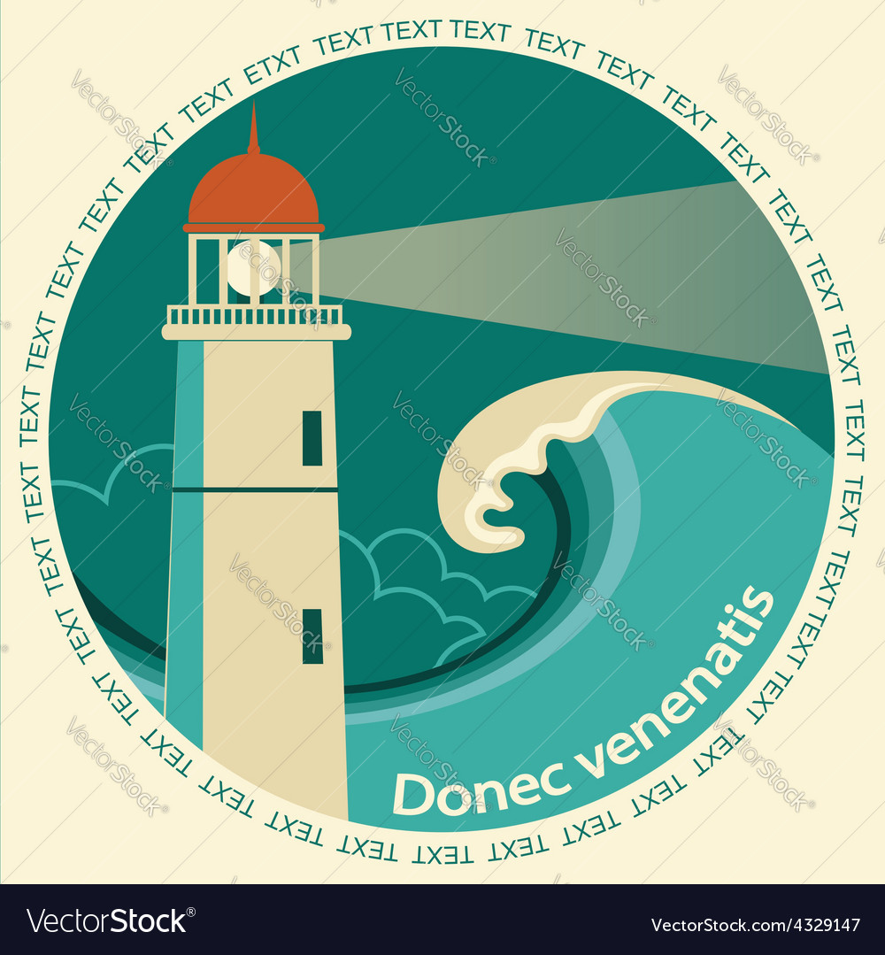 Lighthouse poster label for text vector | Price: 1 Credit (USD $1)