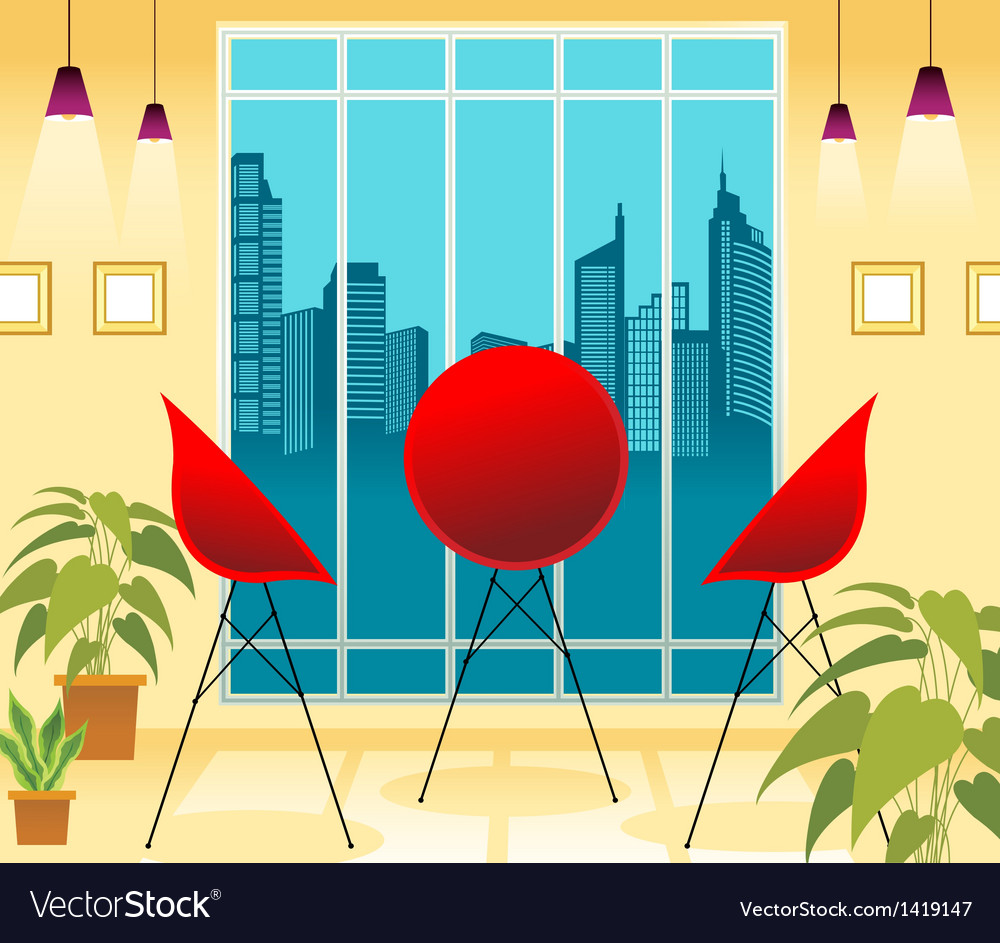 Lounge cityscape view vector | Price: 1 Credit (USD $1)