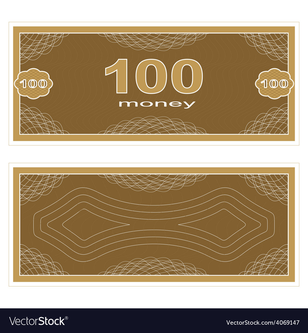 Play money one hundred vector | Price: 1 Credit (USD $1)