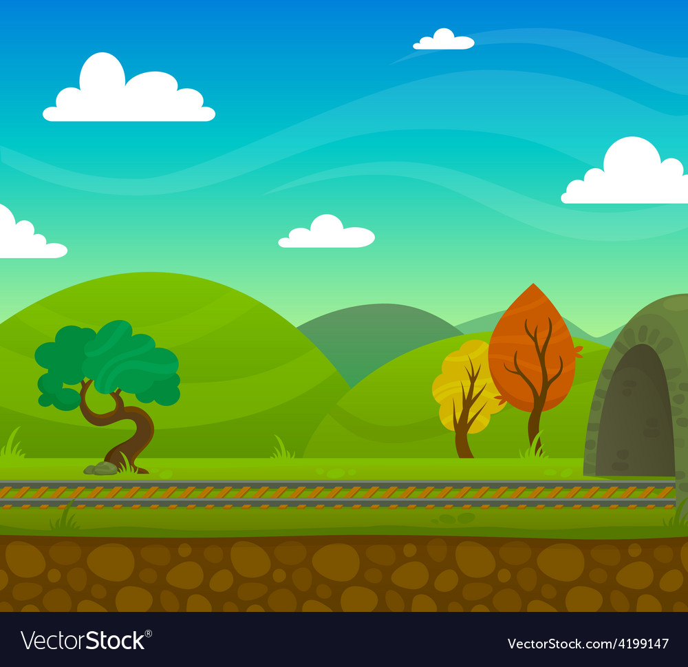 Railway landscape vector | Price: 1 Credit (USD $1)