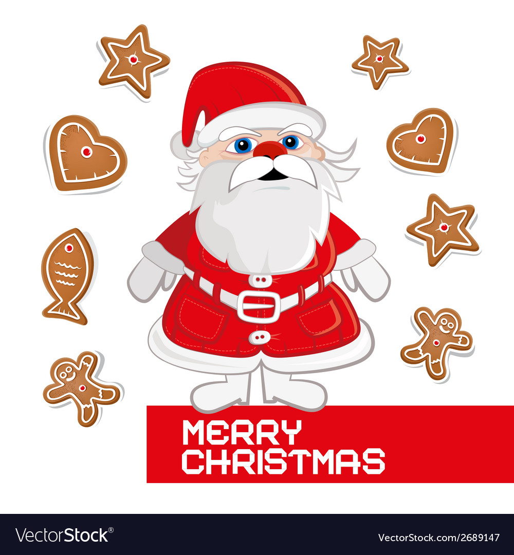 Retro christmas card with santa claus on white vector | Price: 1 Credit (USD $1)