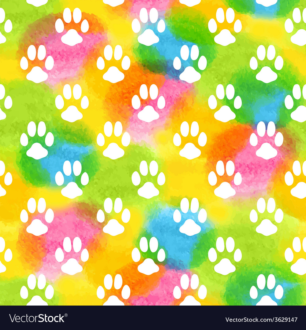 Seamless pattern with watercolor animal footprint vector | Price: 1 Credit (USD $1)