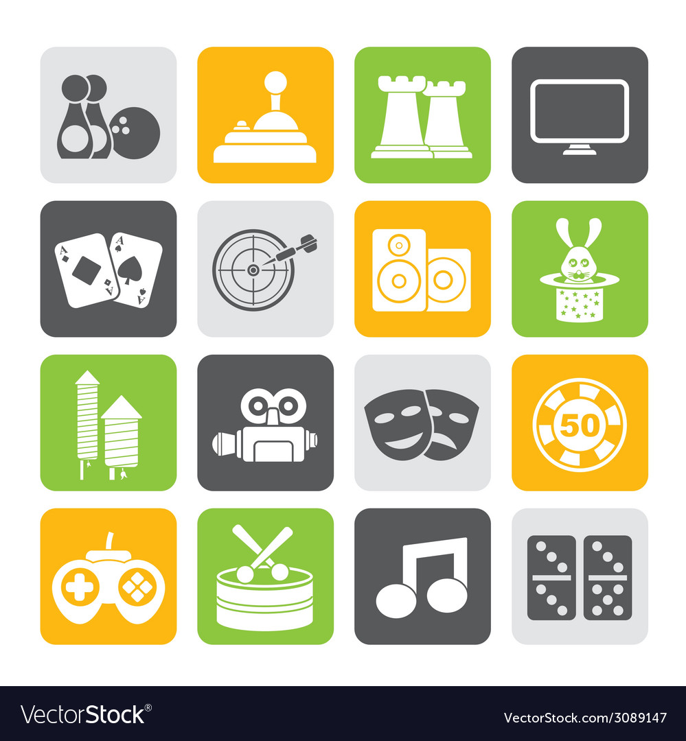 Silhouette entertainment objects icons vector | Price: 1 Credit (USD $1)
