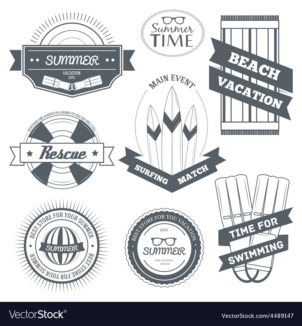 Summer equipment set label template of emblem vector | Price: 1 Credit (USD $1)