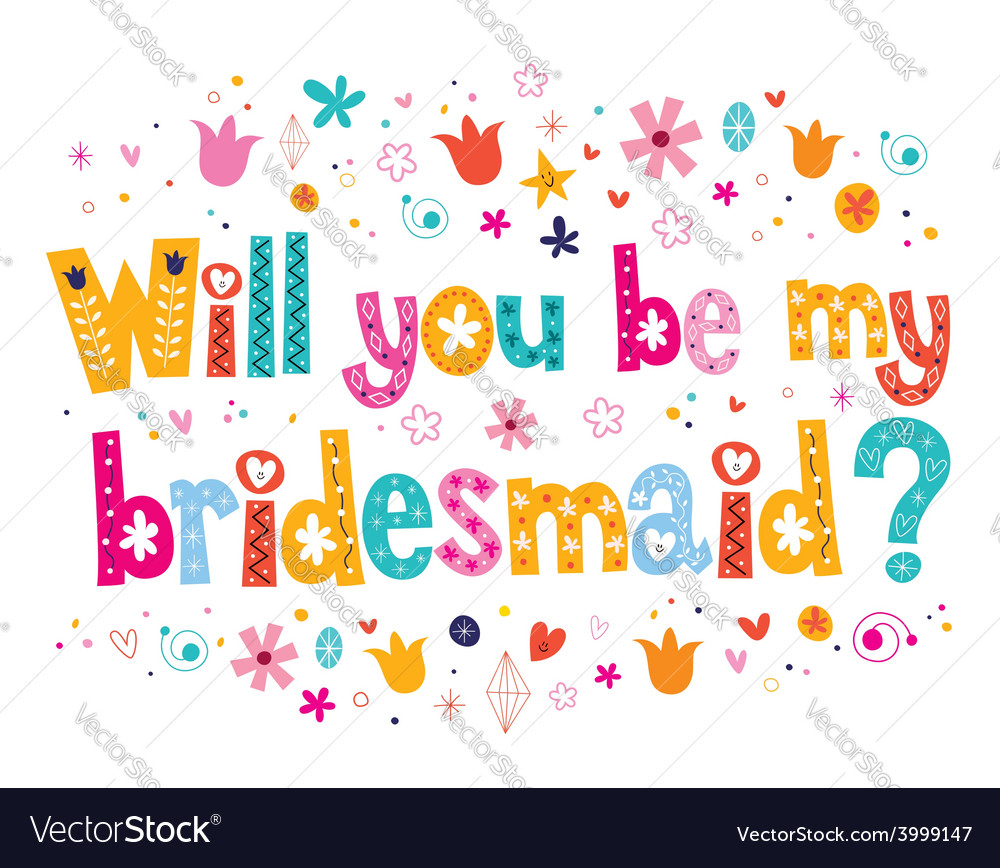 Will you be my bridesmaid vector | Price: 1 Credit (USD $1)