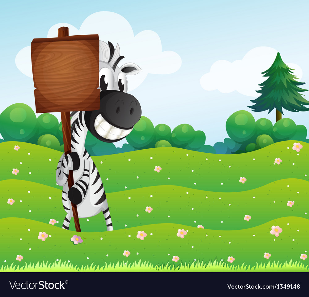 A zebra holding an empty wooden board vector | Price: 1 Credit (USD $1)