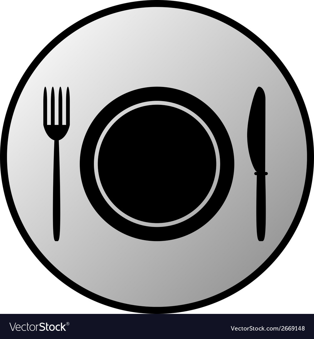 Fork plate and knife button vector | Price: 1 Credit (USD $1)