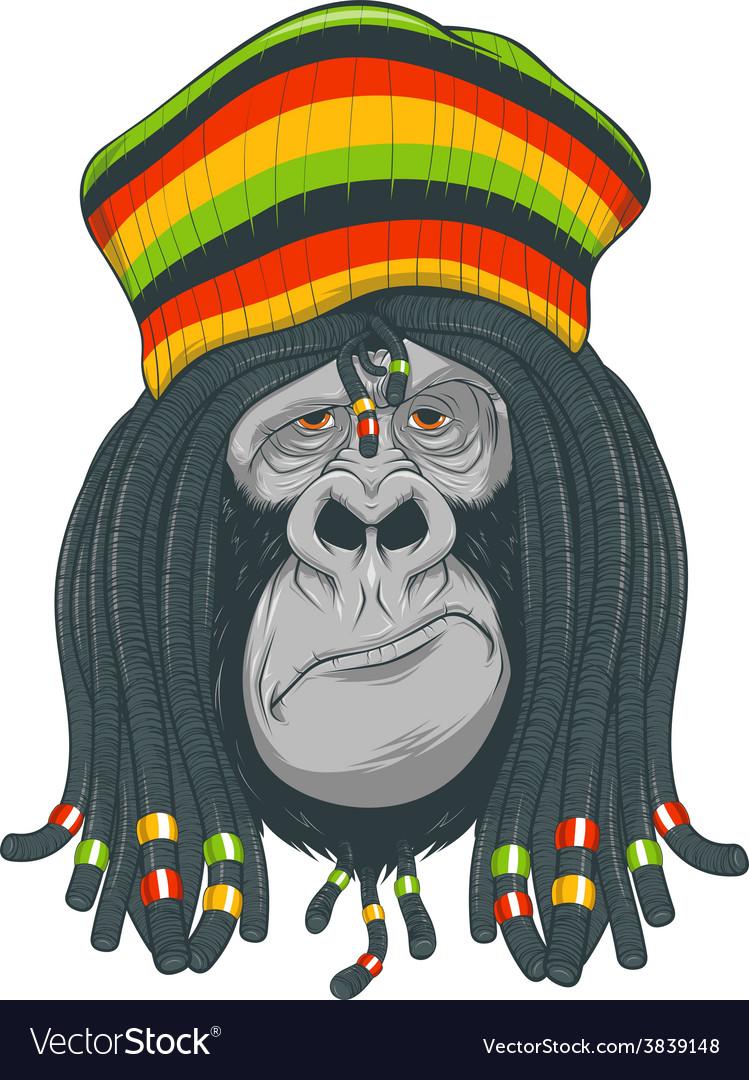 Gorilla rastafarian vector | Price: 3 Credit (USD $3)