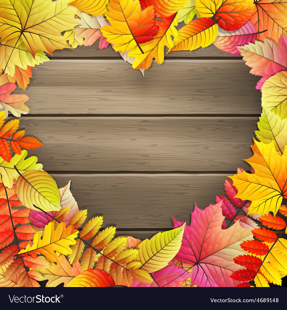 Heart with colored autumn leaves eps 10 vector | Price: 3 Credit (USD $3)