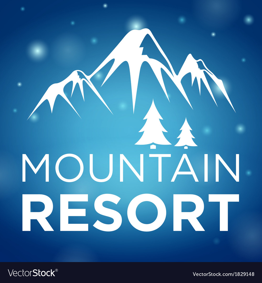 Mountain resort and spruce on blue background vector | Price: 1 Credit (USD $1)