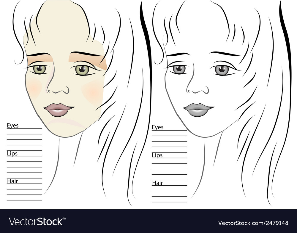 Portrait of girl makeup sketch template vector | Price: 1 Credit (USD $1)