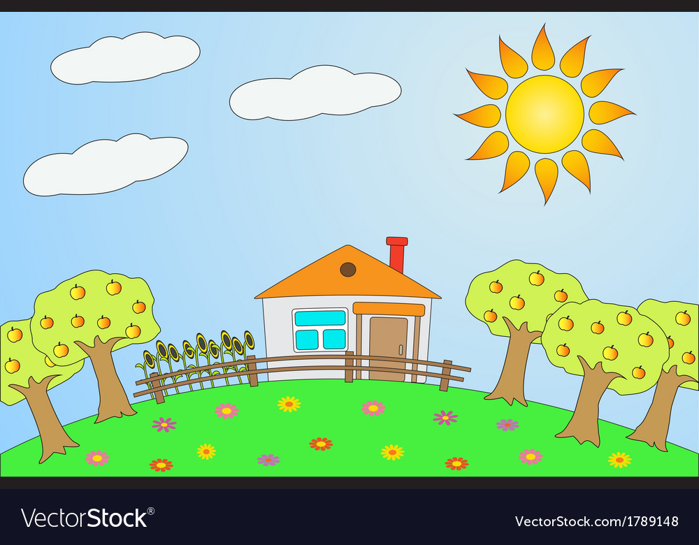 Rural landscape in summer vector | Price: 1 Credit (USD $1)