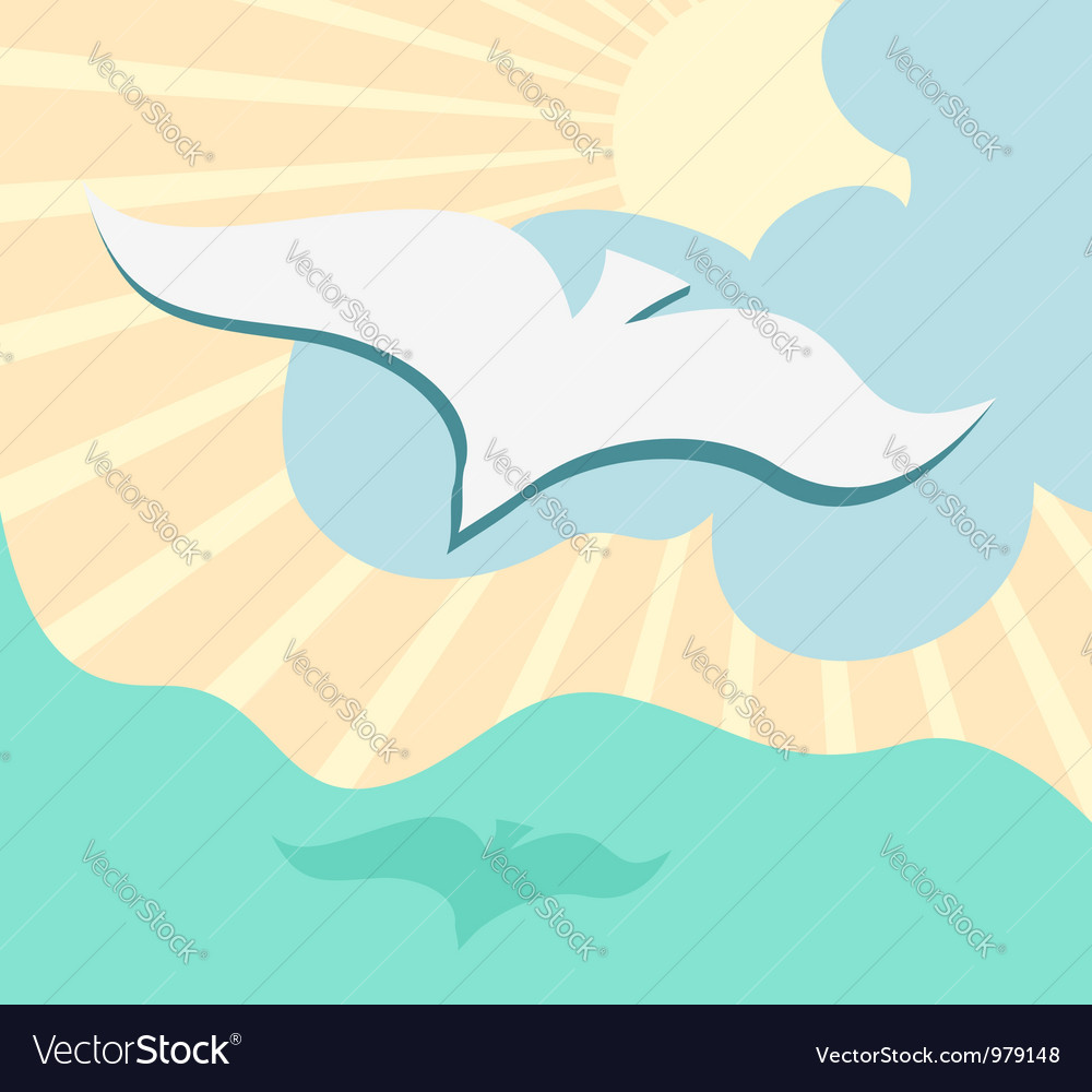 Seagull background vector | Price: 1 Credit (USD $1)