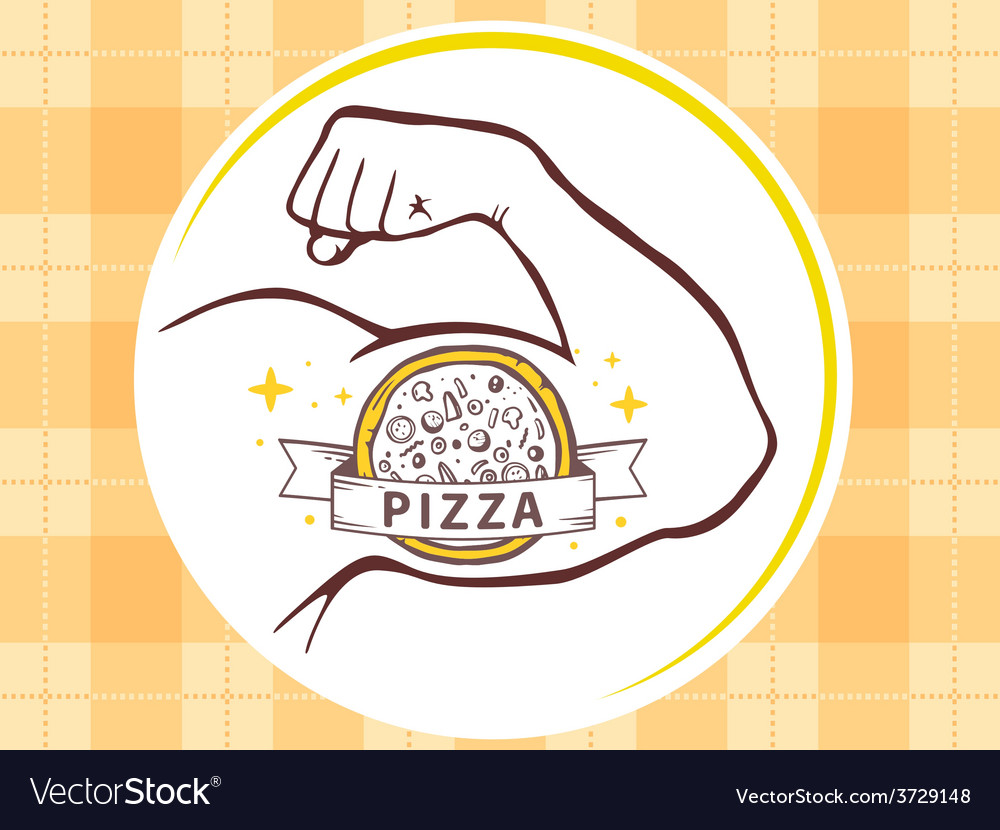 Strong man hand with icon of pizza on ye vector | Price: 1 Credit (USD $1)