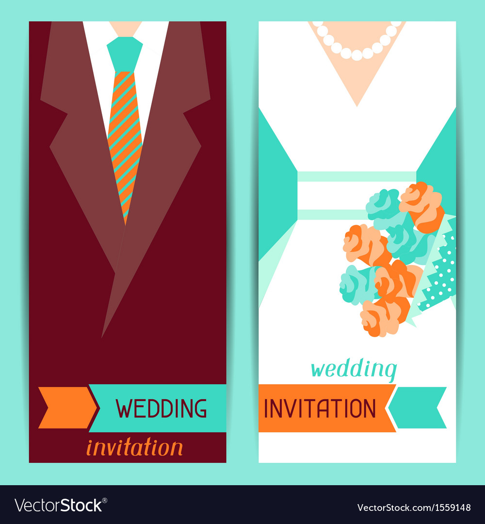 Wedding invitation vertical cards in retro style vector | Price: 1 Credit (USD $1)