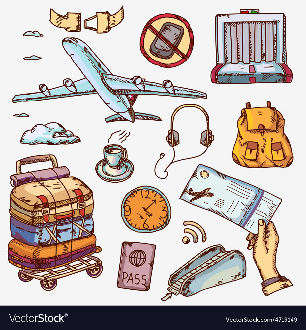 Airport and air travel icons concept traveling on vector   Price: 1 Credit (USD $1)