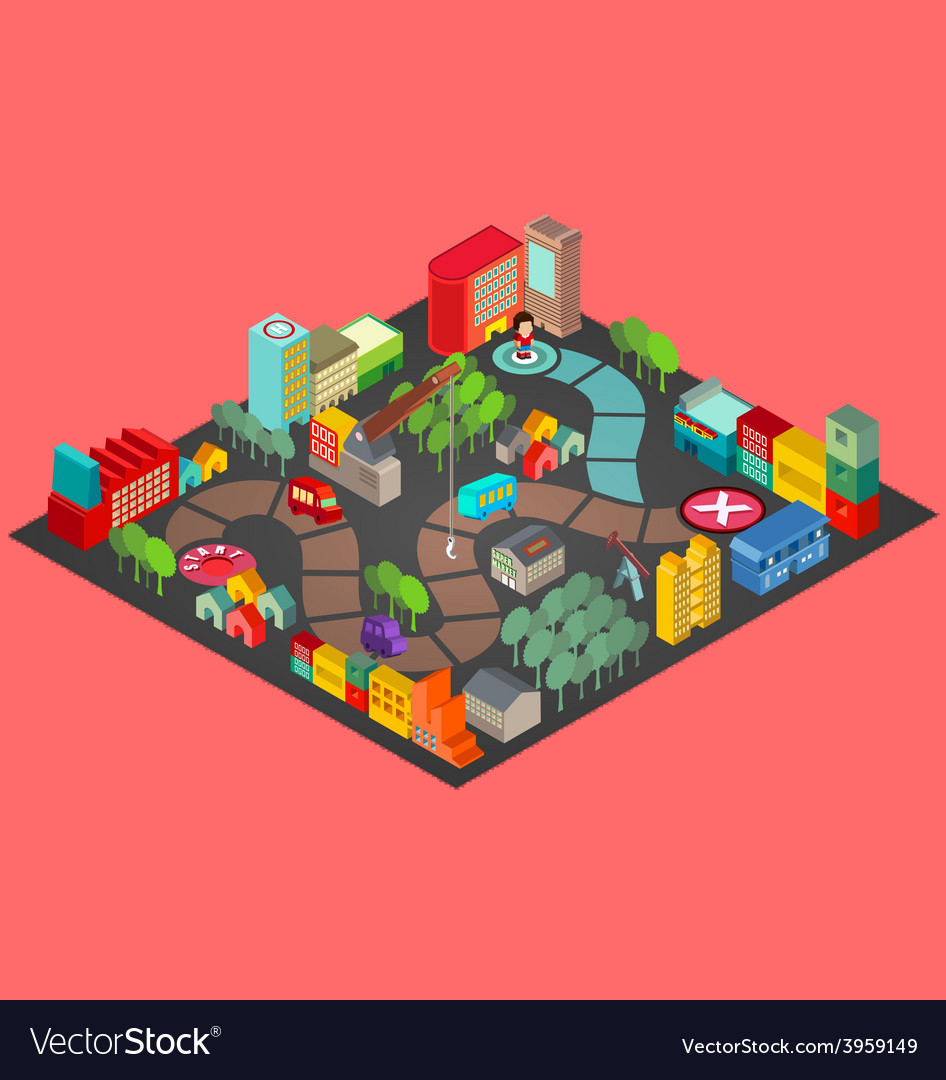 Board game with city building vector | Price: 3 Credit (USD $3)