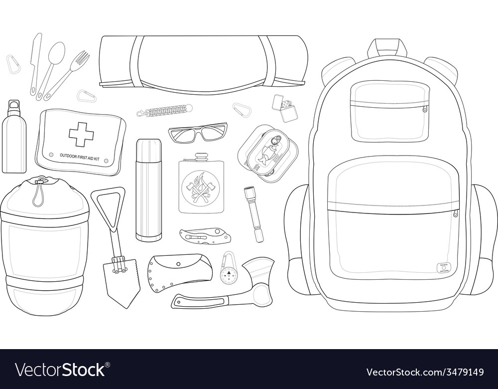 Camping set line-art vector | Price: 1 Credit (USD $1)