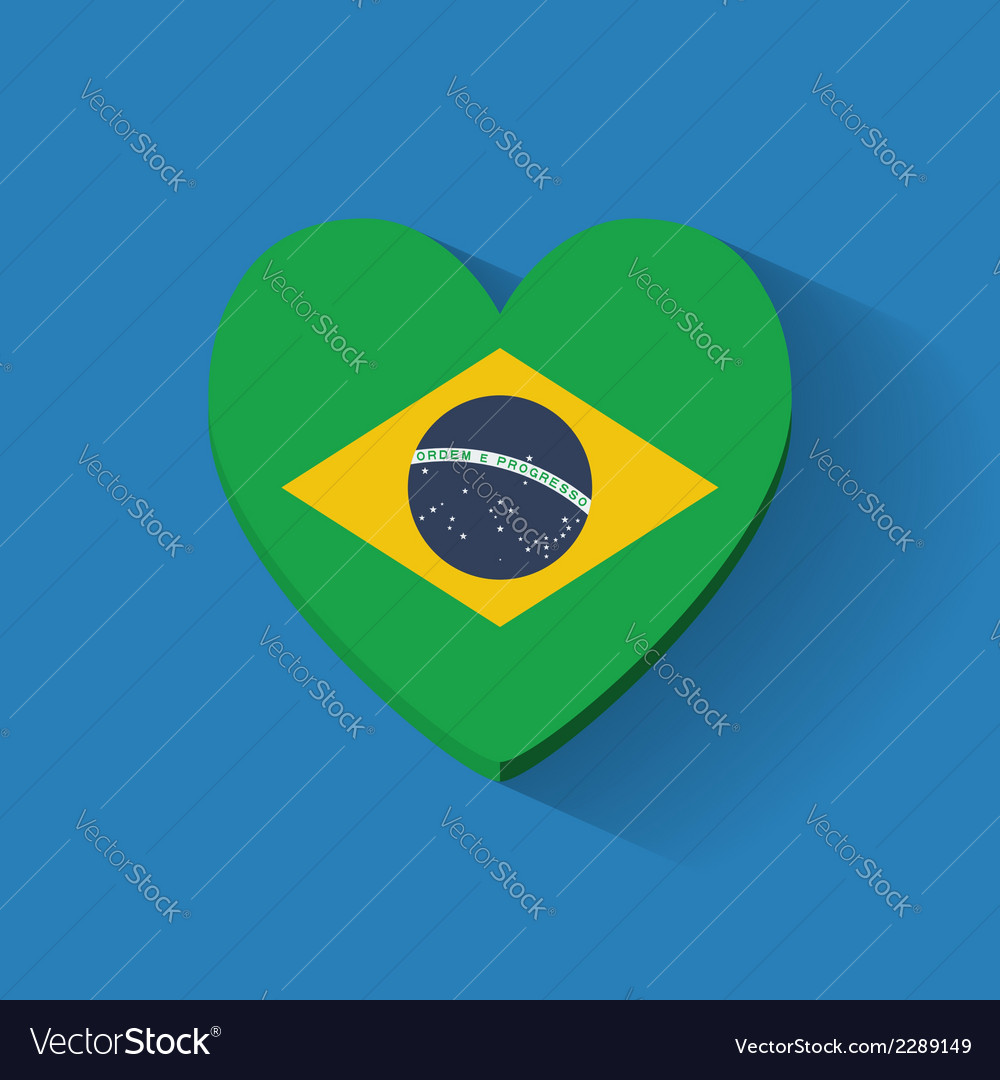 Heart-shaped icon with flag of brazil vector | Price: 1 Credit (USD $1)