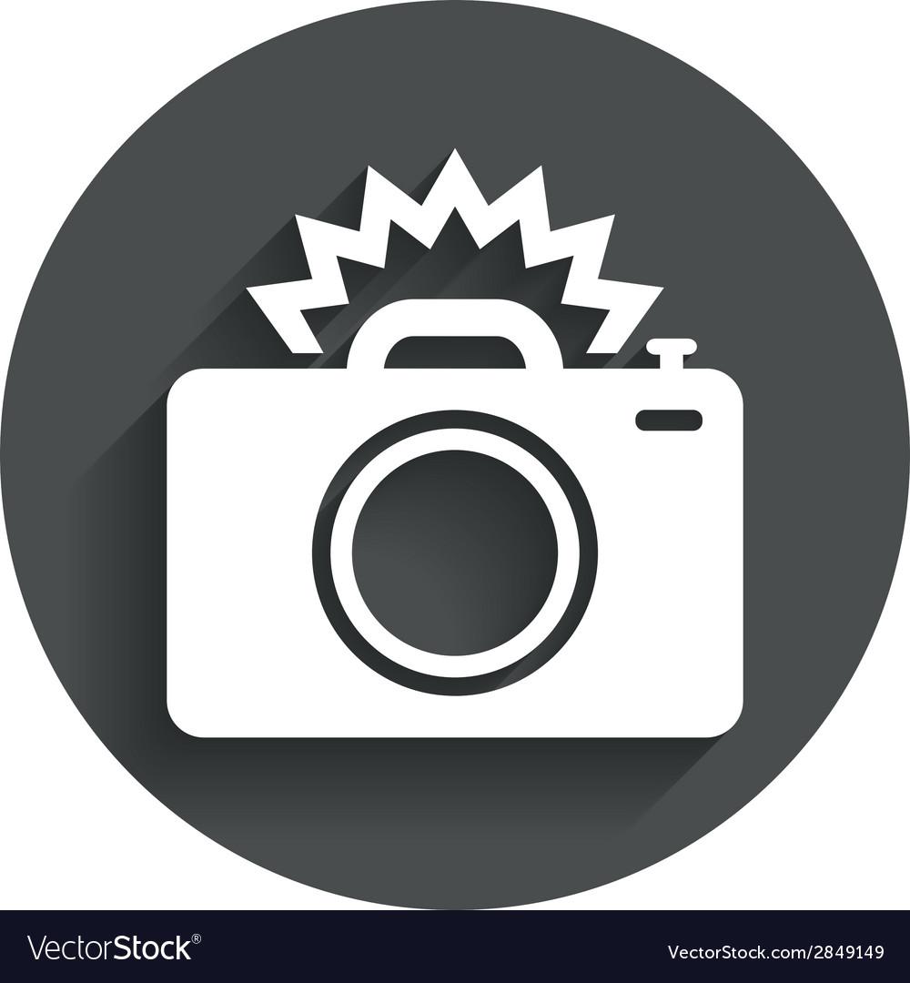 Photo camera sign icon photo flash symbol vector | Price: 1 Credit (USD $1)