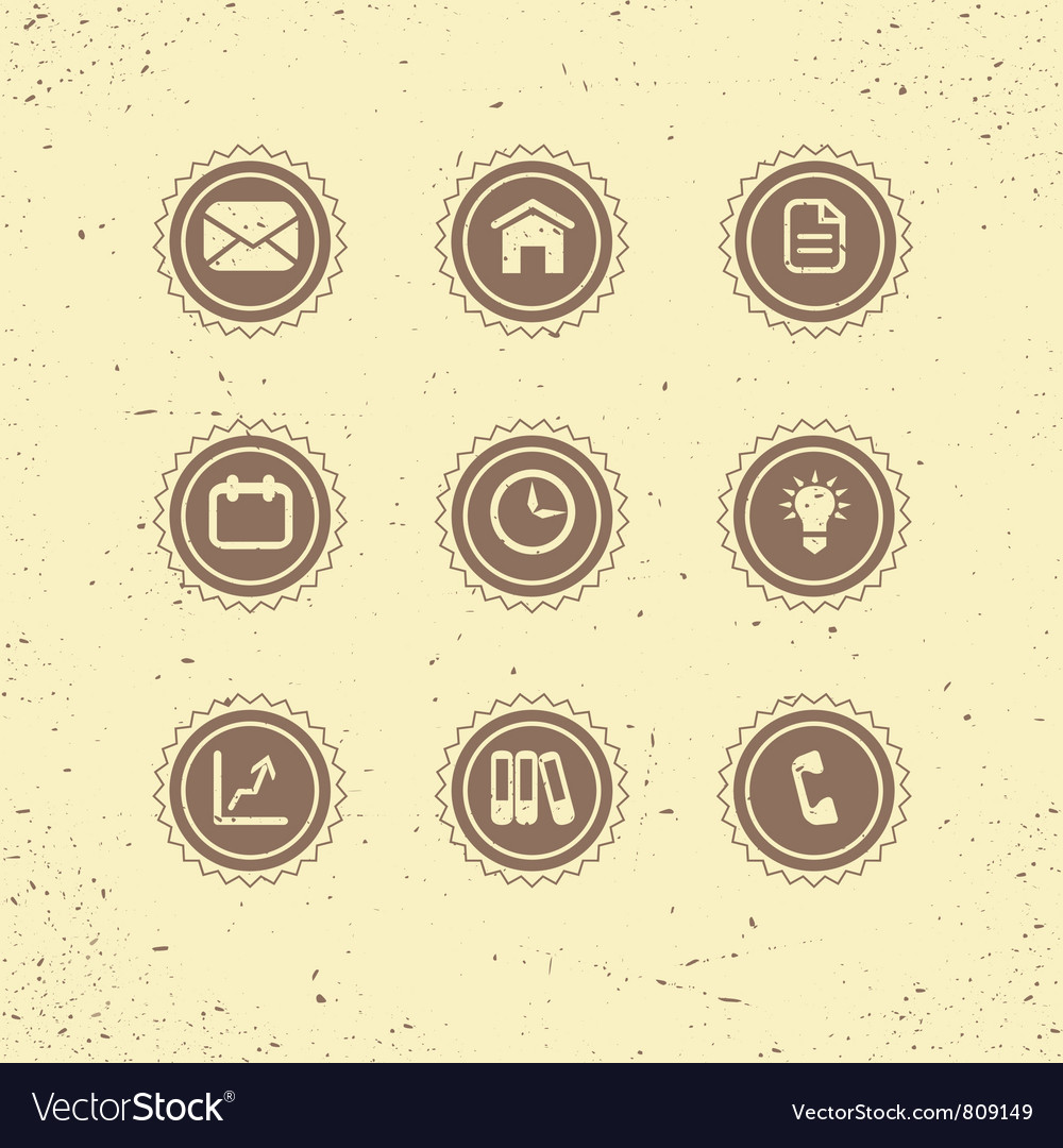 Set of retro icons business theme vector | Price: 1 Credit (USD $1)