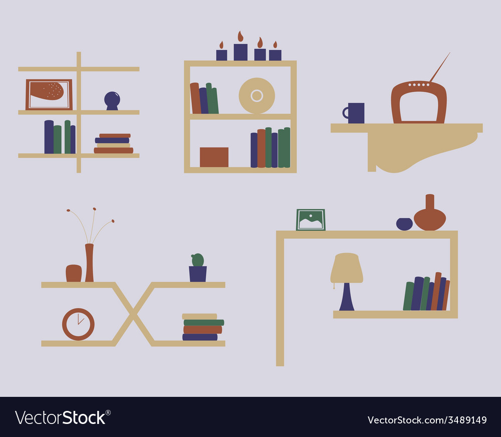Shelves icon set vector | Price: 1 Credit (USD $1)