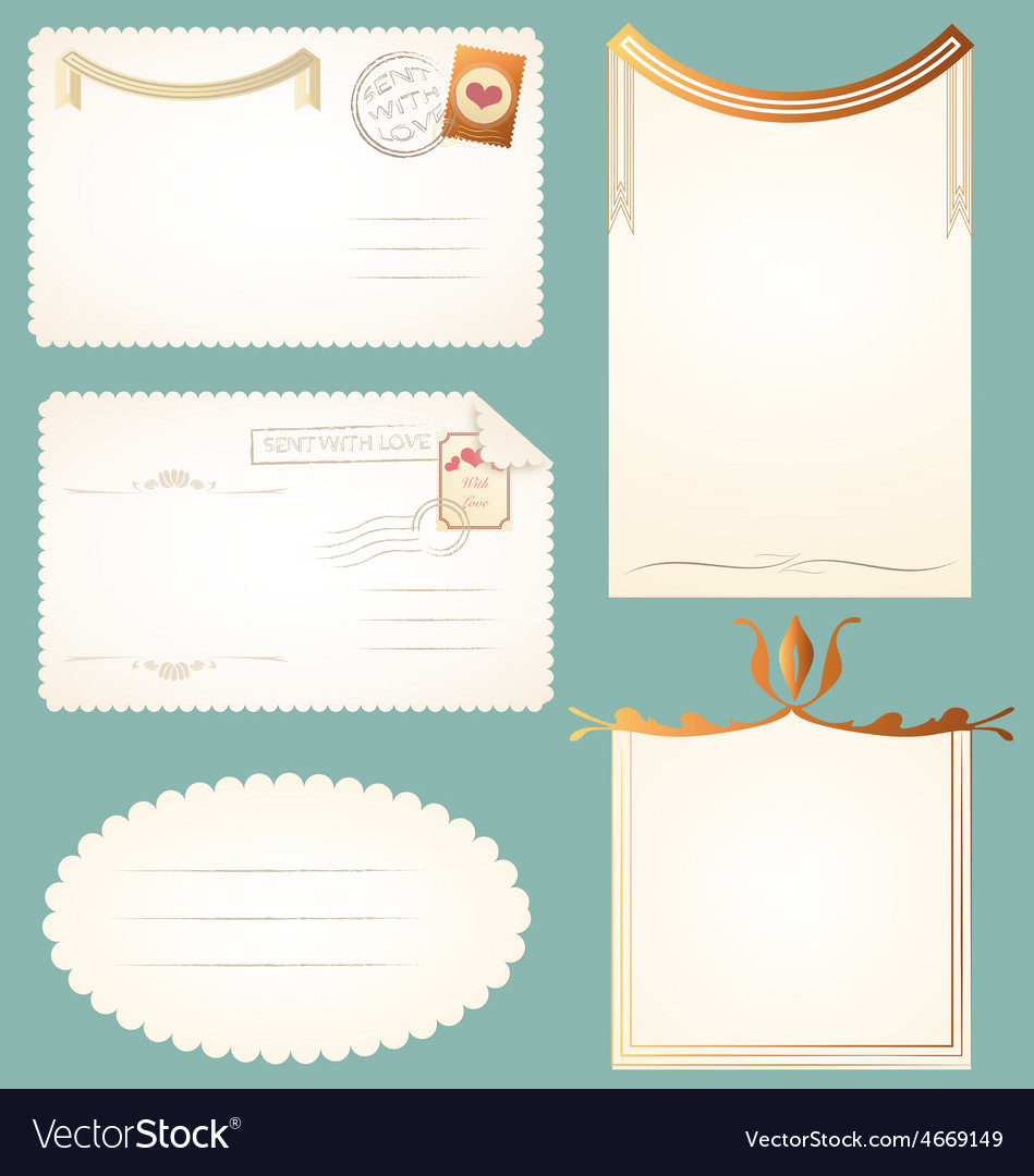 Vintage postcards cards notes backgrounds frames vector | Price: 1 Credit (USD $1)